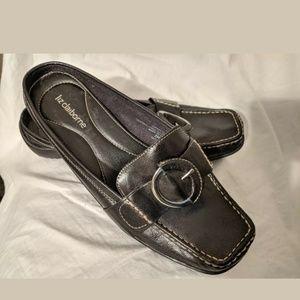 Liz Claiborne Black Leather Mule Women Sz 7 M